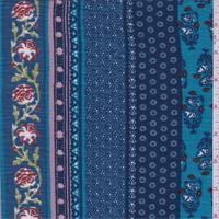 Teal Blue Wallpaper Stripe Rayon Challis