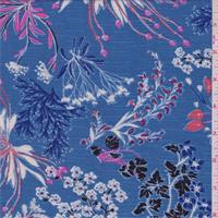 Sky Blue Floral Rayon Challis