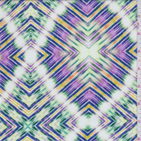 Purple/Green Multi Diamond Rayon Crepe