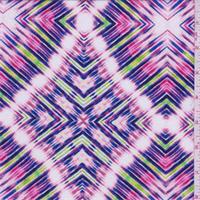Pink/Blue Multi Diamond Rayon Crepe