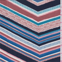Blue Multi Chevron Rayon Crepe