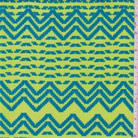 Lime/Aqua Pixelated Stripe Rayon Crepe