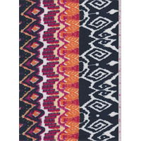 Navy/Orange Multi Aztec Rayon Crepe