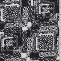 Black/White Tile Rayon Crepe