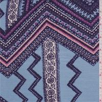 Sky Blue/Purple Zig Zag Rayon Crepe