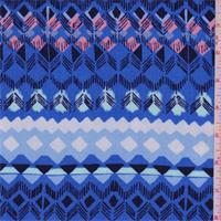Bright Blue Multi Geometric Stripe Rayon Crepe