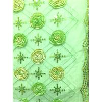 *1 3/8 YD PC--Mint Green Floral Organza Mesh
