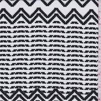White/Black Pixelated Stripe Crepe