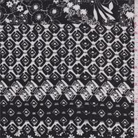 Black/White Floral Diamond Rayon Crepon