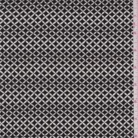 Black/White Diamond Lattice Rayon Crepe