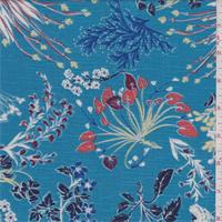 Aqua Blue Floral Rayon Challis