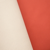 Gridded Soft Shell Fleece - Orange/Ivory