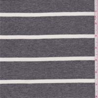 Dark Grey/Cream Stripe Rayon Jersey Knit