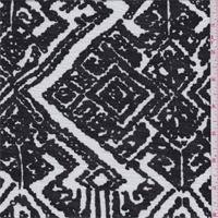 Black/White Tribal Diamond Rayon Jersey Knit