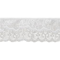 "*12 YD PC--2 Tier Lace 2""X12yd-White Iridescent"