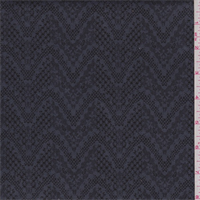 *2 3/4 YD PC--Steel Grey/Black Floral Chevron Print Stretch Twill