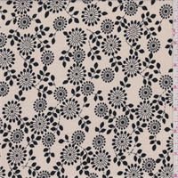 *3 1/2 YD PC--Beige/Black Floral Cotton Lawn
