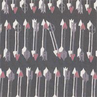 *5 3/8 YD PC--Arrow Print on Charcoal Silk Chiffon