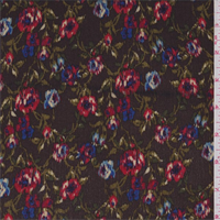 *1 1/2 YD PC--Chocolate Brown Multi Floral Rayon Crepe