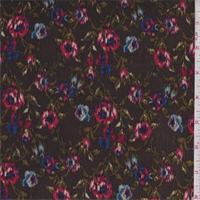 *2 YD PC--Chocolate Brown Multi Floral Rayon Crepon