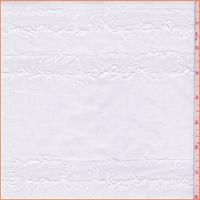 Off White Fringed Stripe Cotton Shirting