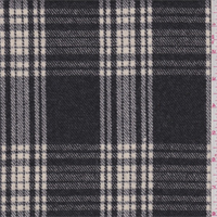 *1 3/8 YD PC--Slate/Ivory Plaid Wool Flannel Suiting
