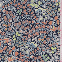 *3 YD PC--Deep Blue Multi Mini Floral Garden Crepe de Chine