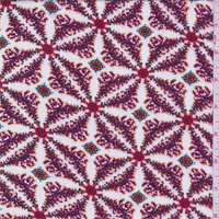 White/Berry Pinwheel Leno Jacquard