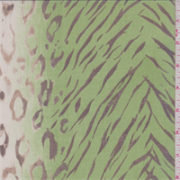 Green/ivory Animal Print Crinkled Silk Chiffon