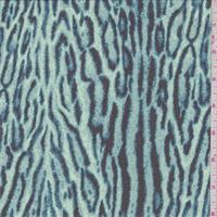 Ice Blue/Black Animal Print Silk Chiffon