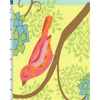 *1 YD PC--Yellow Multi Valori Wells Nest Bird Panel Wild Child Gaillardia Print Cotton
