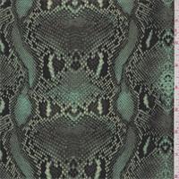 Opaline Green Snakeskin Print Silk Crepe de Chine