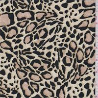 Champagne Beige Jaguar Print Silk Crepe de Chine