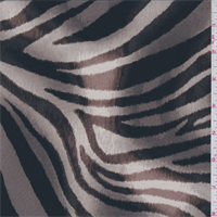 Taupe Brown Zebra Print Silk Crepe de Chine