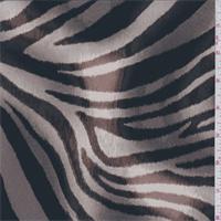 Taupe Brown Zebra Print Silk Crepe de Chine