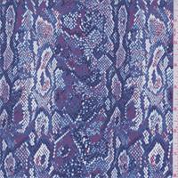 Blue Iris Snakeskin Print Silk Crepe de Chine