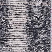 Black/Tan Snakeskin Print Silk Crepe de Chine
