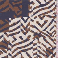 Pearl/Indigo Print Silk Crepe de Chine