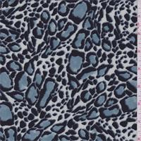 Slate Blue/Black Leopard Print Crepe de Chine