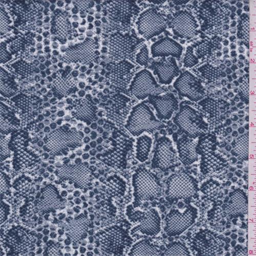 Vintage Blue Snakeskin Print Crepe De Chine 65869