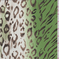 Avocado/Bisque Animal Print Crepe de Chine