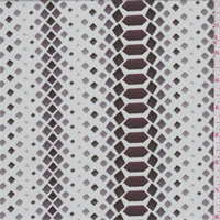 Parchment/Mauve Diamond Print Crepe de Chine