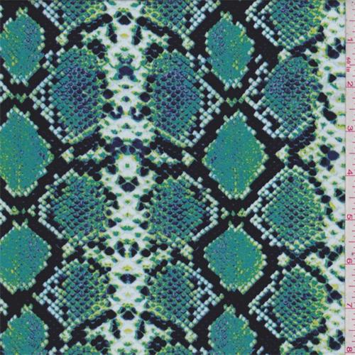 Black Aqua Snakeskin Print Crepe De Chine 65863