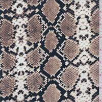 Tan/Brown Snakeskin Print Crepe de Chine