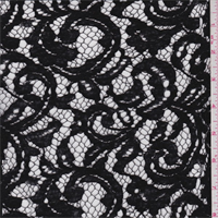 *2 3/4 YD PC--Black Scroll Cotton Lace