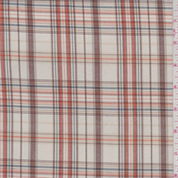 *3 YD PC--Ecru/Orange/Brown Plaid Cotton Shirting