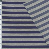 *2 3/4 YD PC--Royal Blue/Grey Ponte Stripe