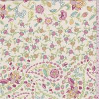 Ecru Multi Floral Jersey Knit