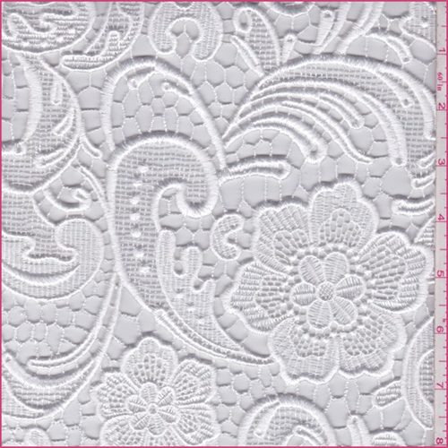 Pearl White Floral Scroll Bridal Lace 65901 Discount Fabrics