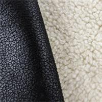 *1 YD PC--Black/Cream Sherpa Fleece Faux Suede